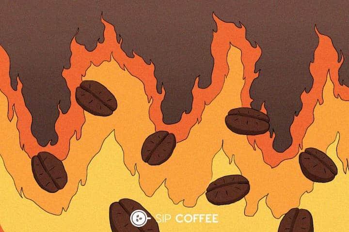 coffee roasting in fire