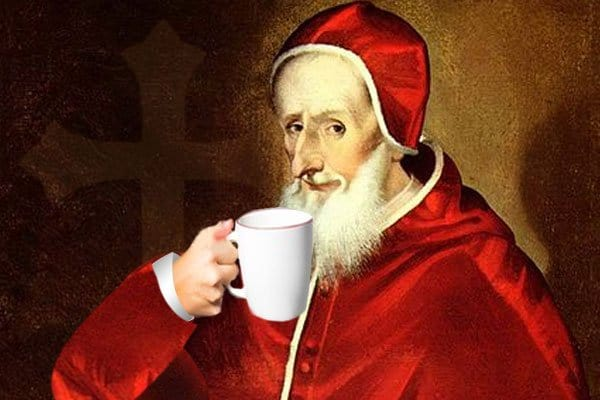 pope drinking coffee