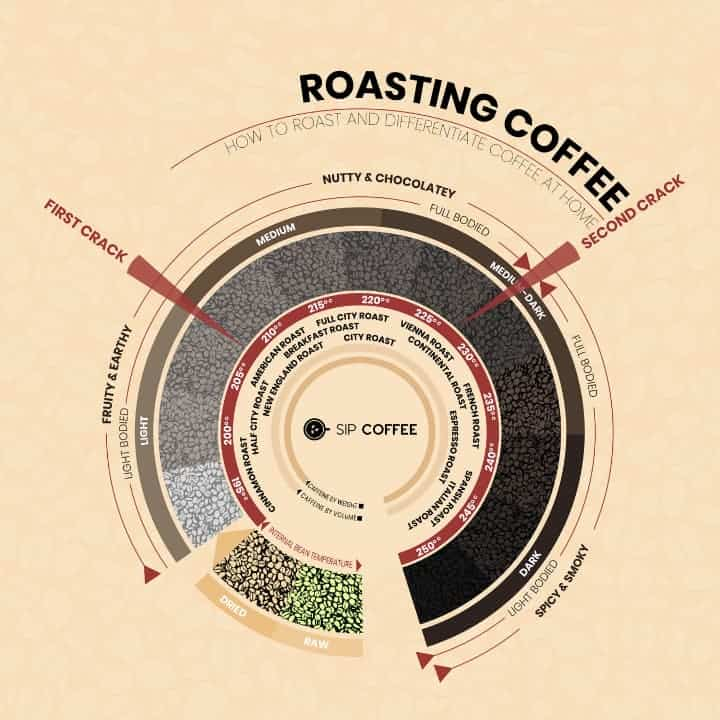 roasting coffee stages