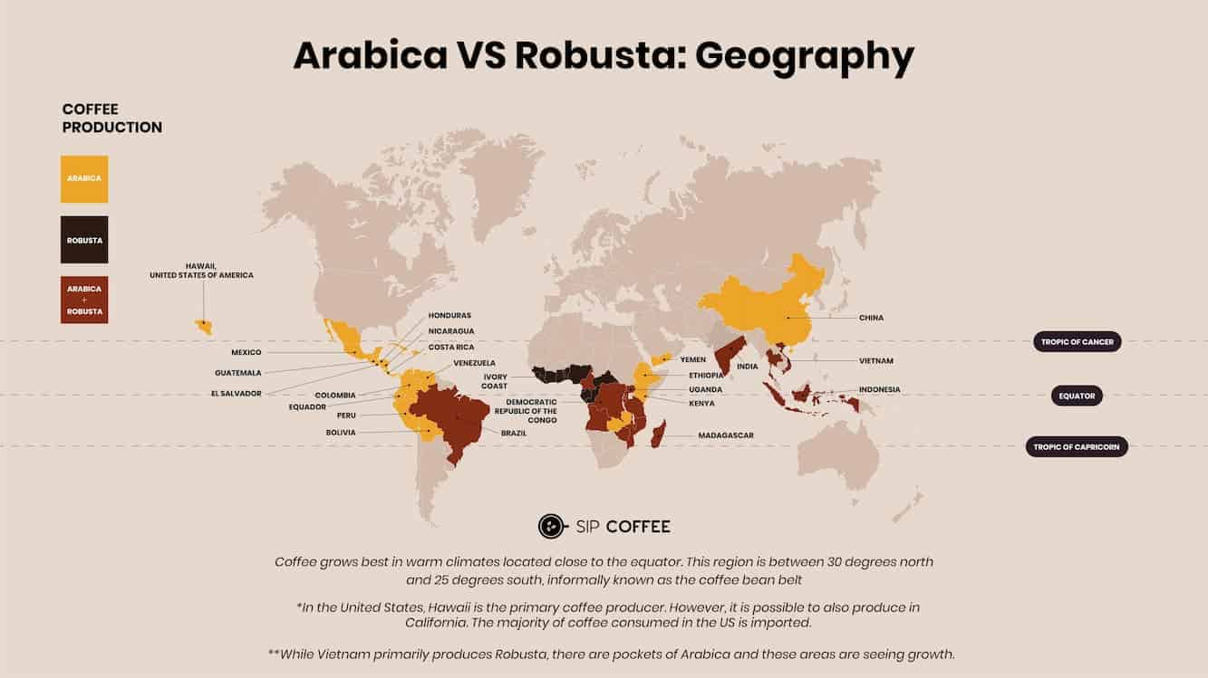 robusta geography map