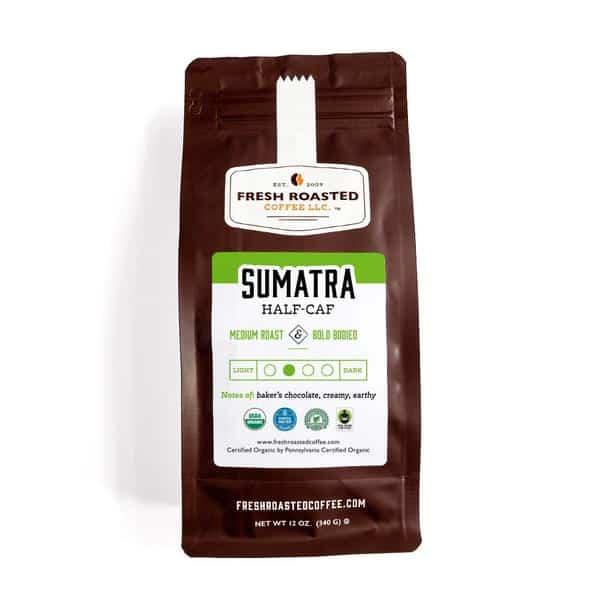 Organic Sumatra Swiss Water Half Caffeine | Fresh Roasted Coffee