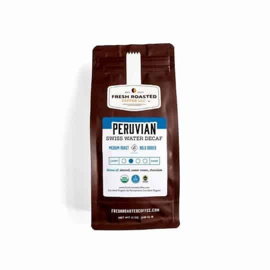 Fresh Roasted Coffee's Organic SWP Decaf Peruvian Coffee