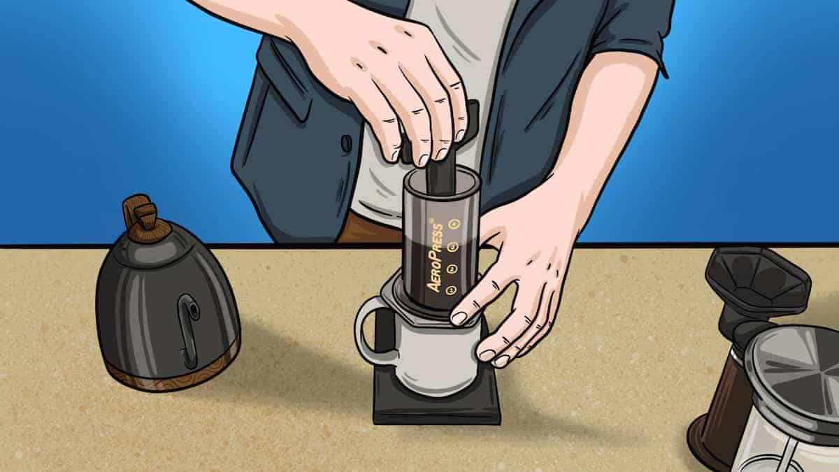 Adding Ground Coffee To AeroPress illusstration