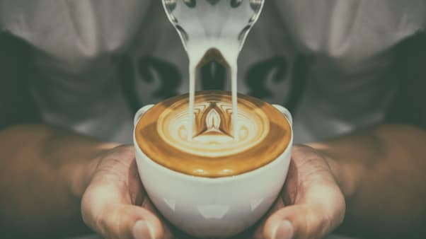 reverse latte in a cup