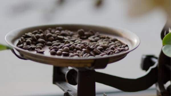 beans on weighted scale
